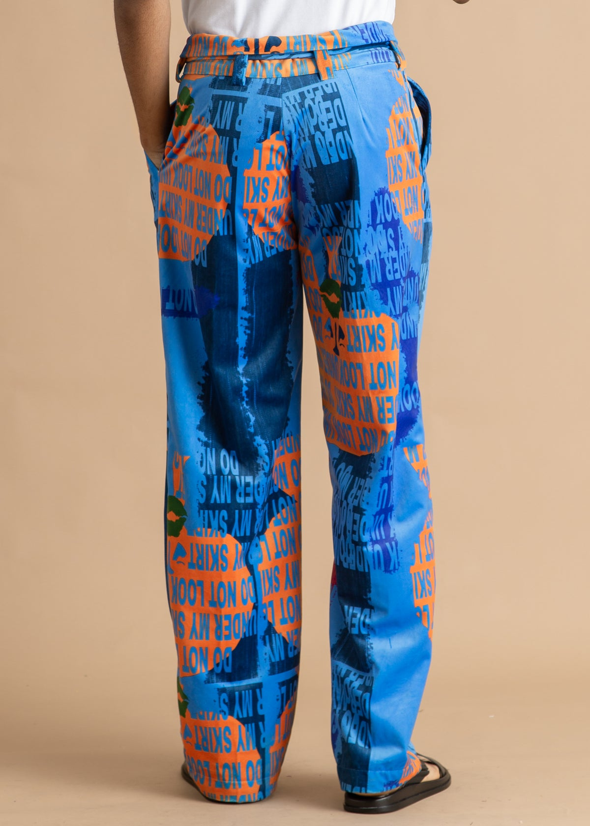 Orange Culture blue and orange velvet pant