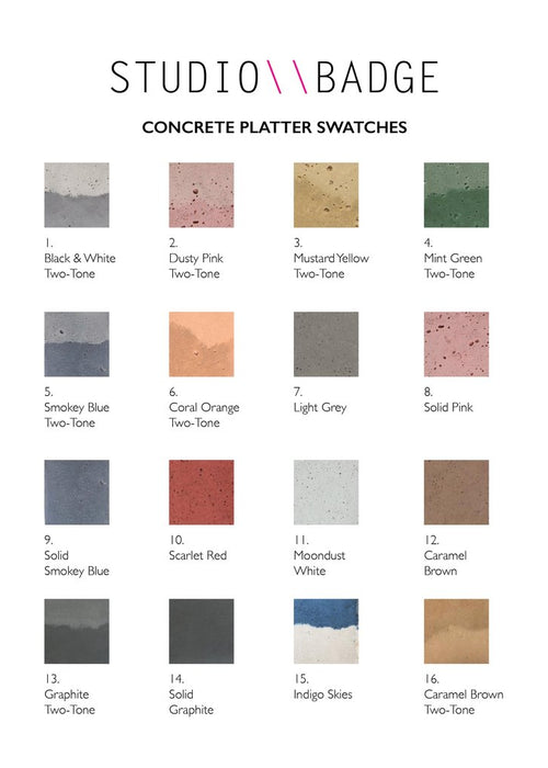 Studio badge concrete platter swatches