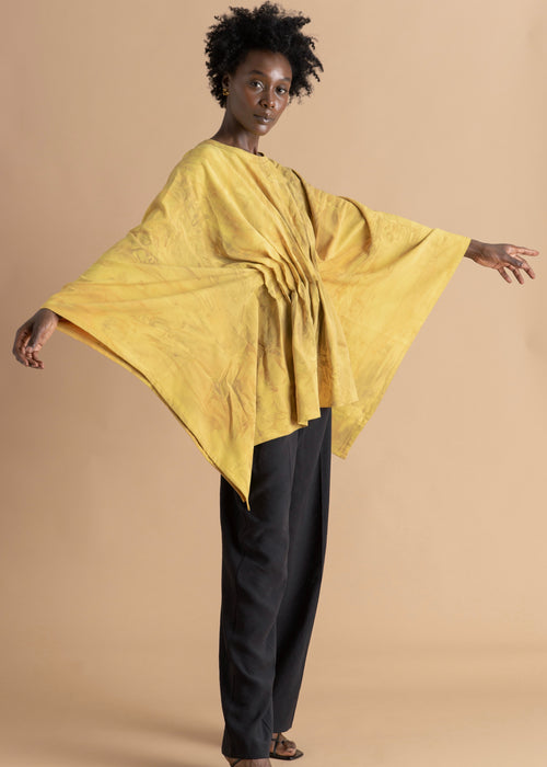 Sisiano yellow flowy pleated top