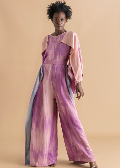 Watercolor dyed pink layered Sisiano jumpsuit