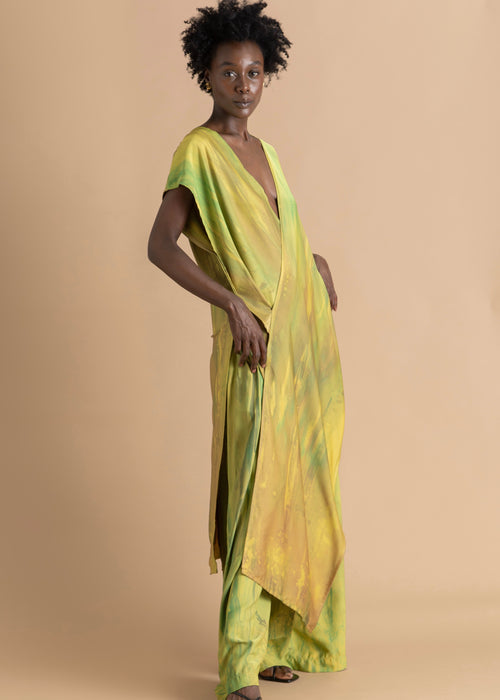 Sisiano sleeveless green and yellow wrap top