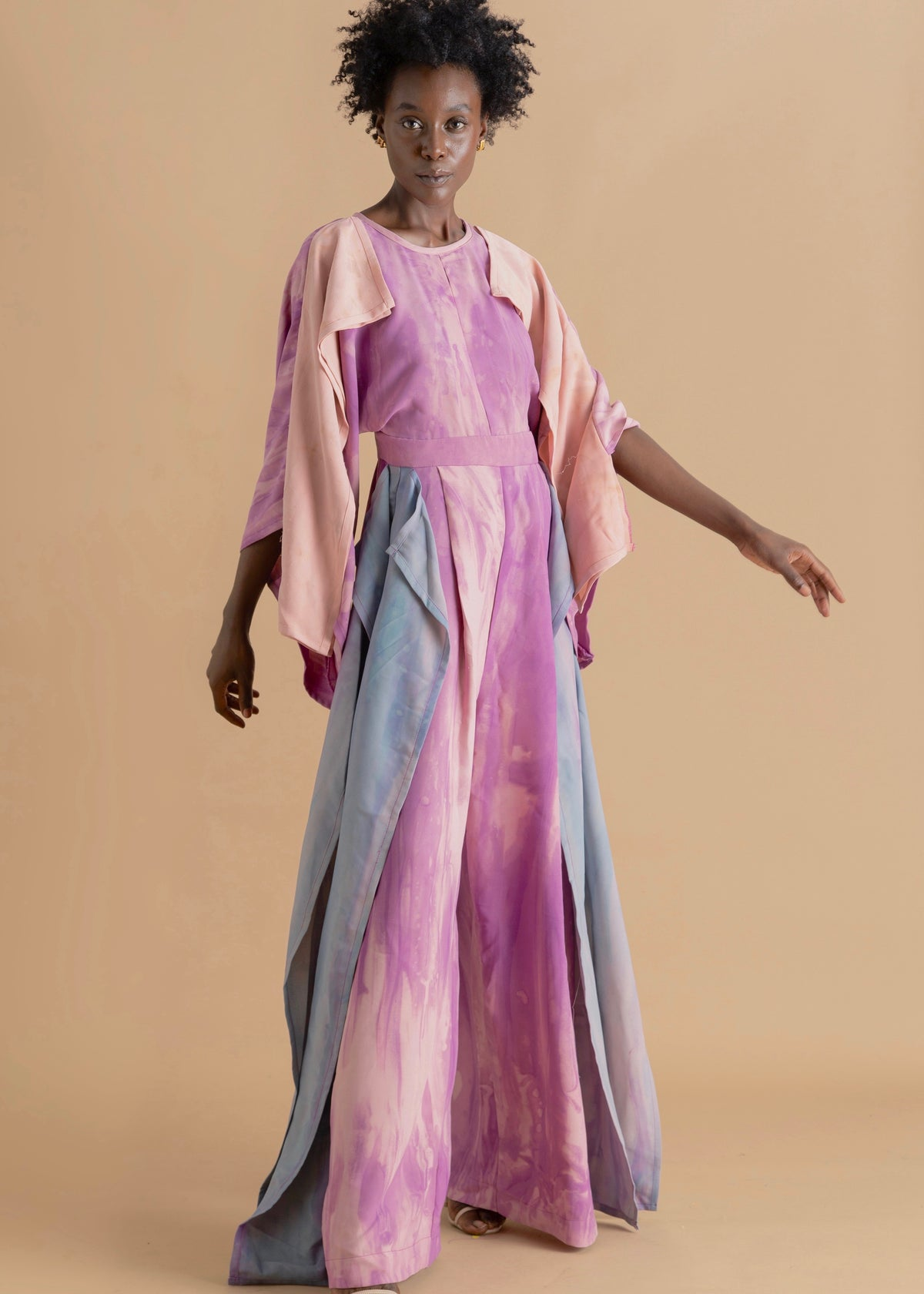 Sisiano Watercolor dyed pink layered jumpsuit