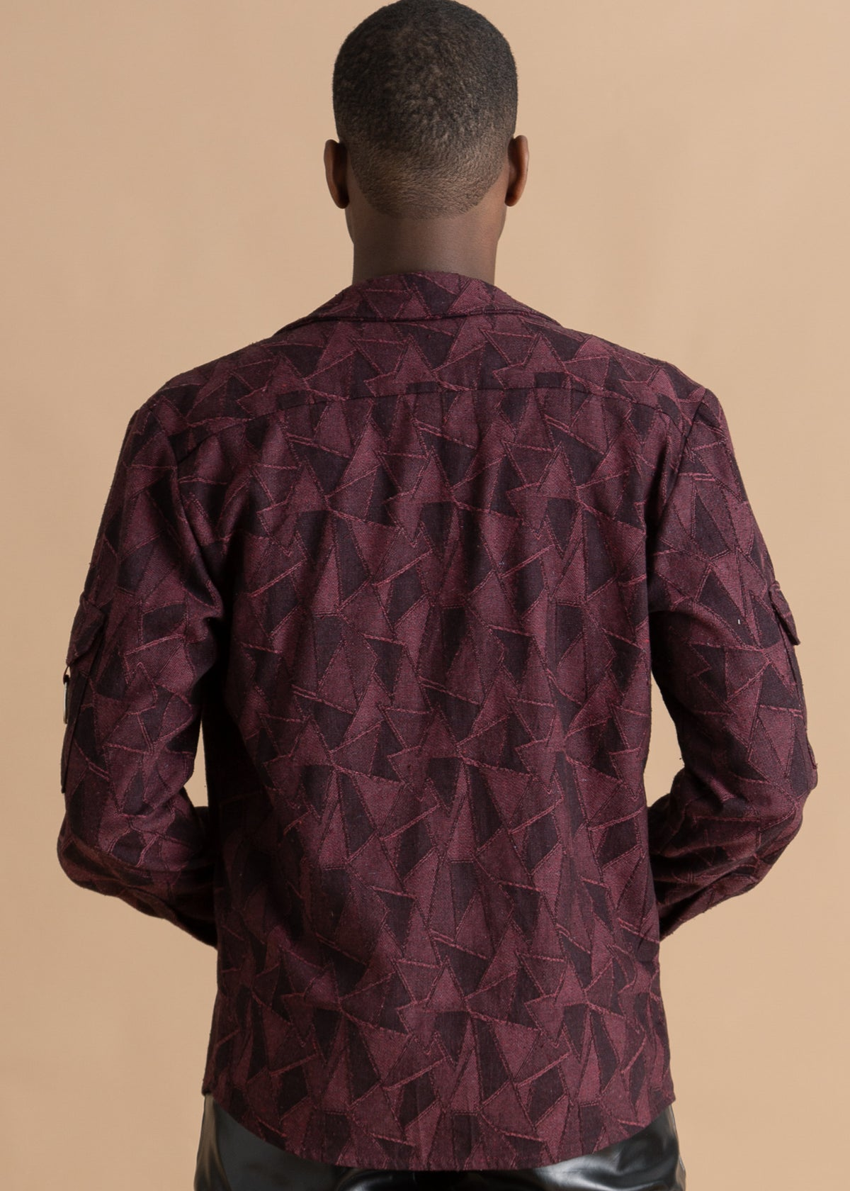 Nicholas Coutts Burgundy Jacquard Printed Men's Shirt