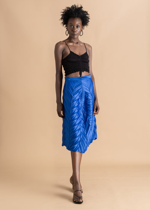 Nicholas Coutts blue pleated midi skirt