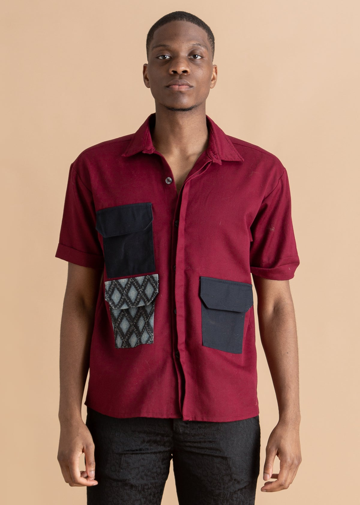 Nicholas Coutts red button down shirt