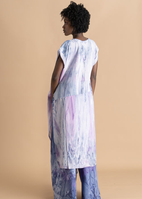 Long purple watercolor dyed Sisiano top