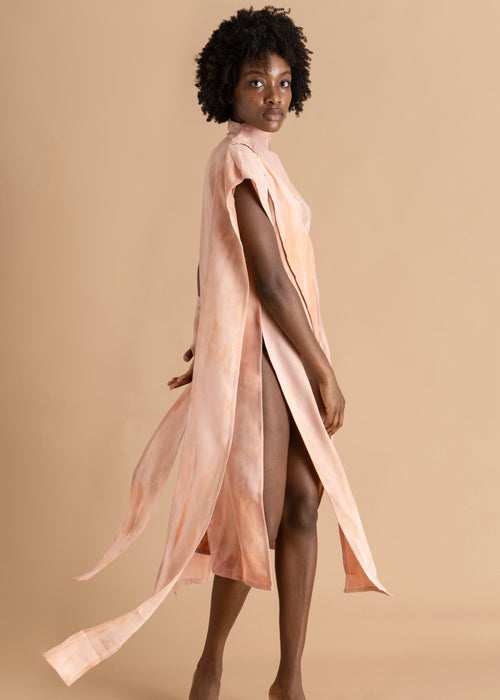 Pink asymmetric funnel neck Sisiano dress