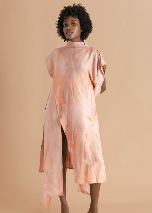 Sisiano Pink asymmetric funnel neck dress
