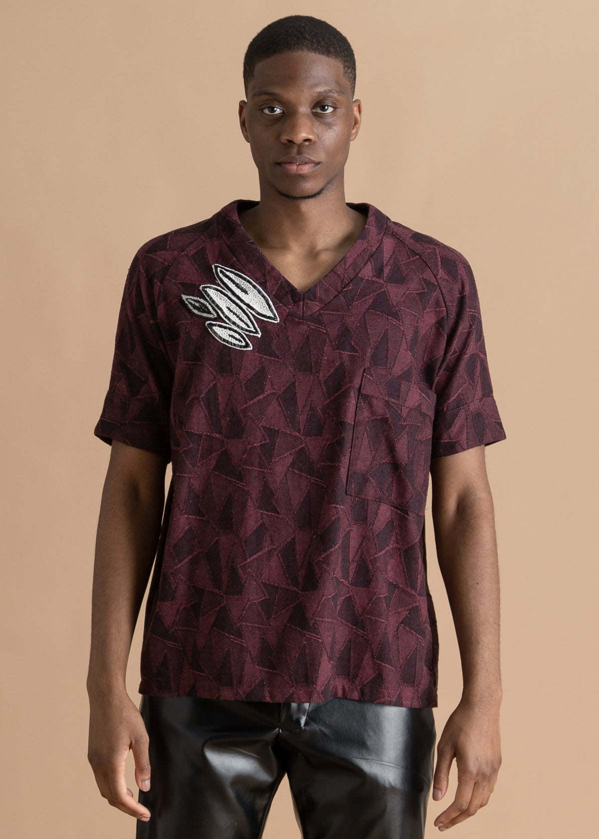 Nicholas Coutts burgundy textured shirt