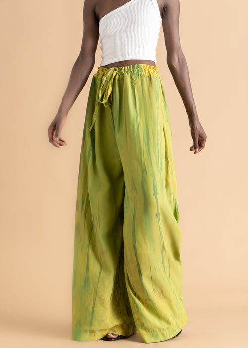 Green watercolor dyed Sisiano pants