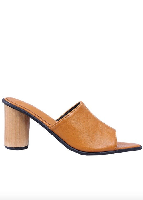 Tan leather Shekudo mule sandal with wood heel