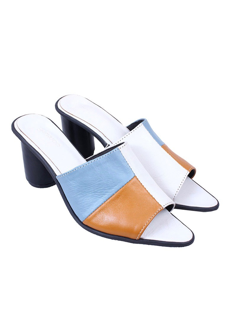 Blue, tan, and white leather mule Shekudo high-heel sandal