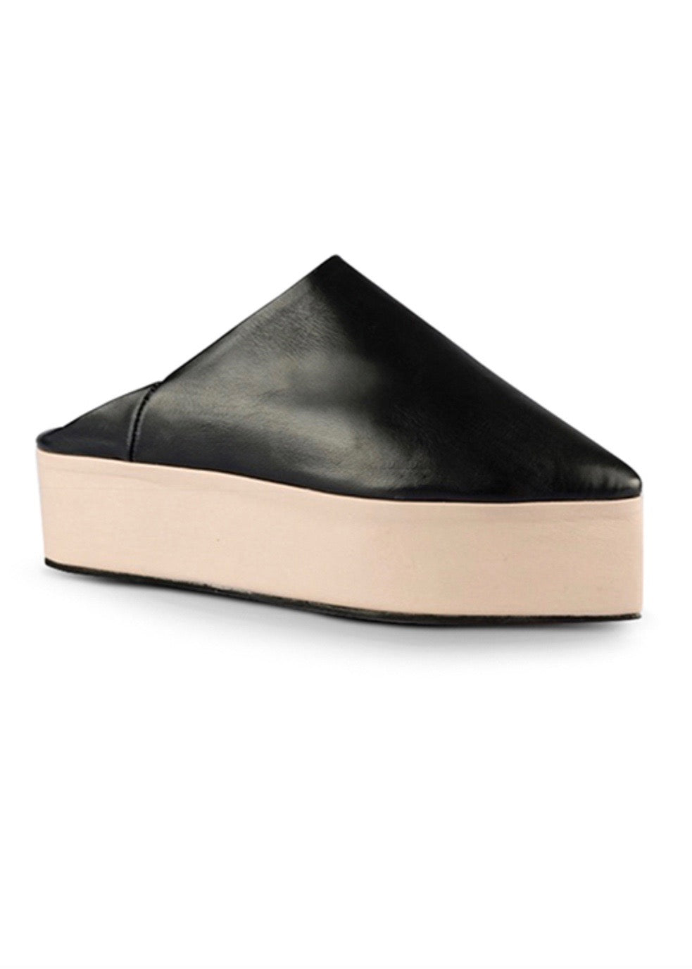 Black and beige two-tone platform babouche shoes