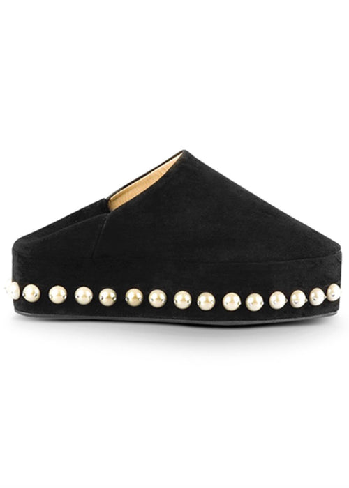 Handmade in Morocco black luxury pearl studded babouches by Rhita Sebti