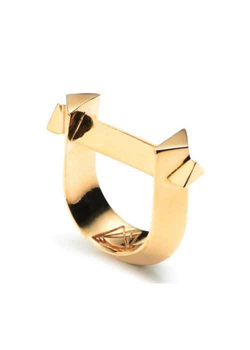 Third Crown 18K Gold Plated Brass Arc Ring