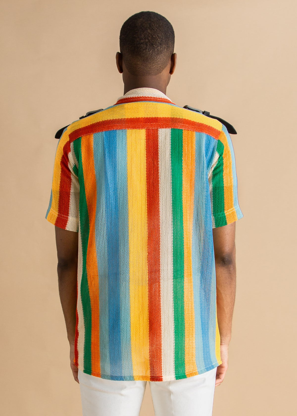 Tokyo James multicolored striped knit buckled top