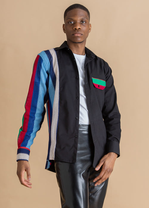 Tokyo James black knit multicolored stripe shirt
