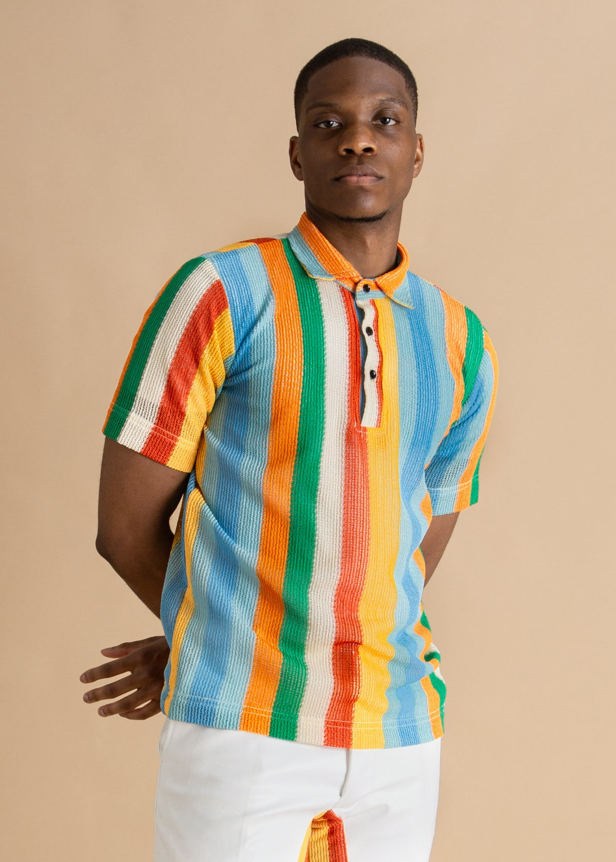Tokyo James multicolored striped knit polo