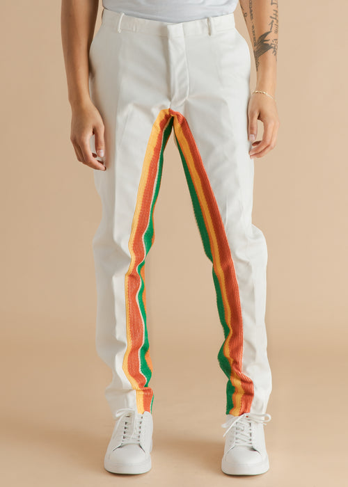 Tokyo James white striped vegan leather pants