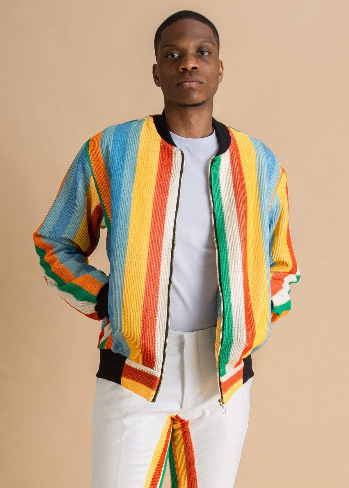 Tokyo James multicolored striped knit bomber jacket