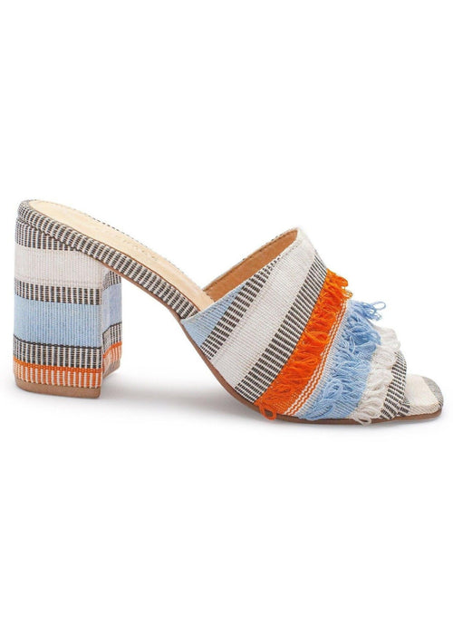 Colorful woven mule sandals by Shekudo