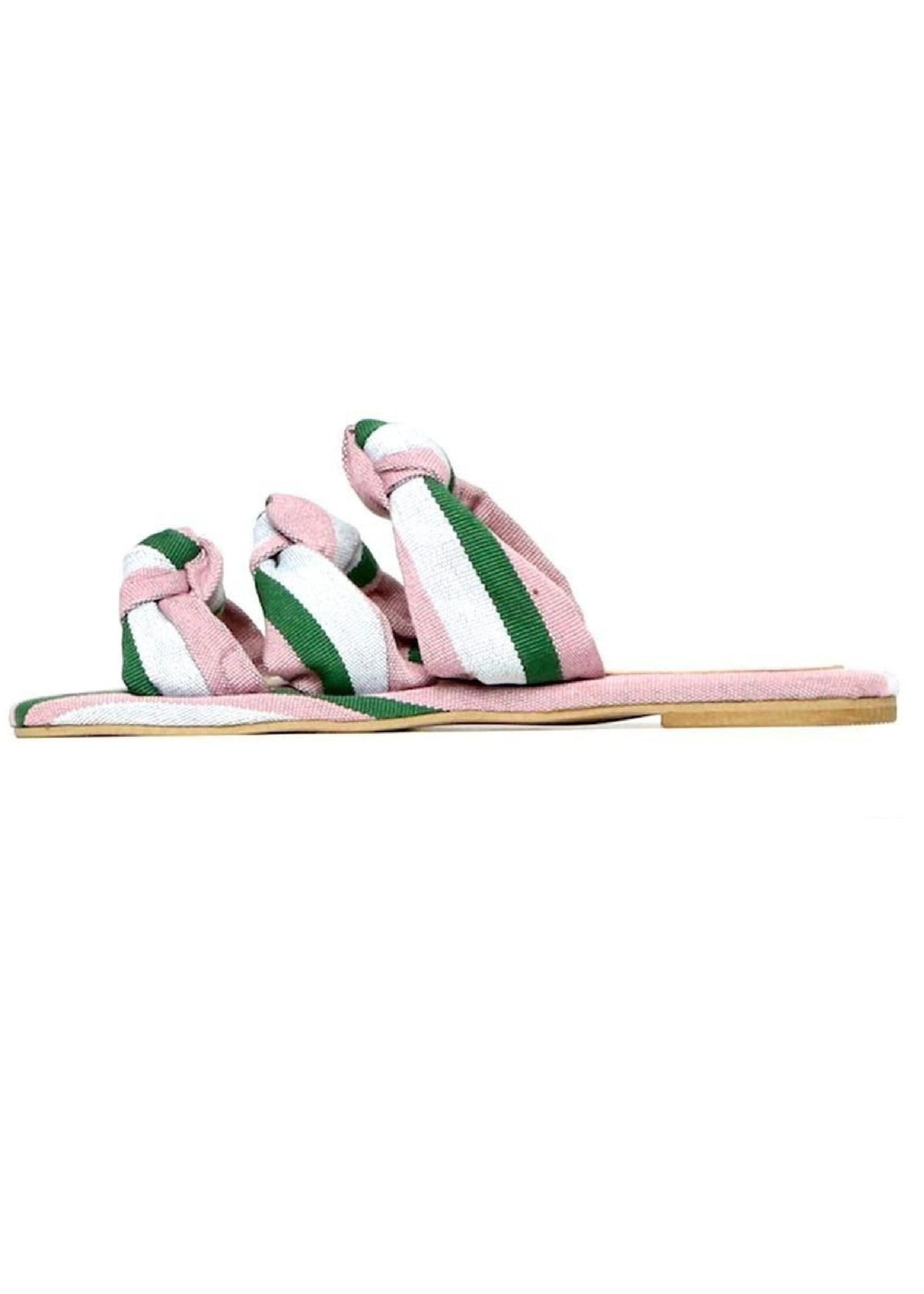 Shekudo green and pink woven slippers