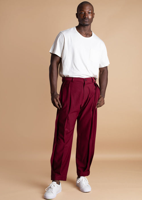 Atto Tetteh Burgundy Crepe Pleated Pant