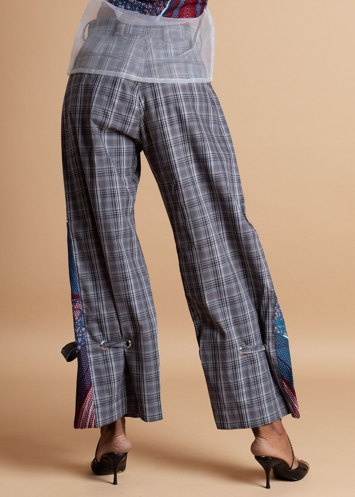 Atto Tetteh Black and White Tartan Print Pant