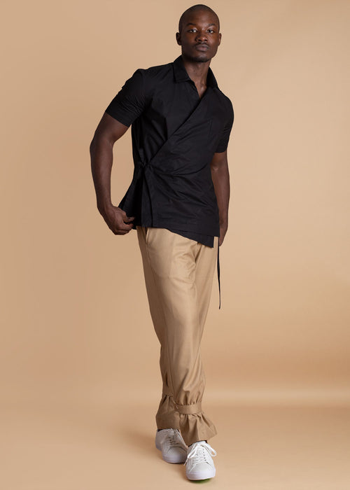 ALC Black Wrap Shirt with Pocket