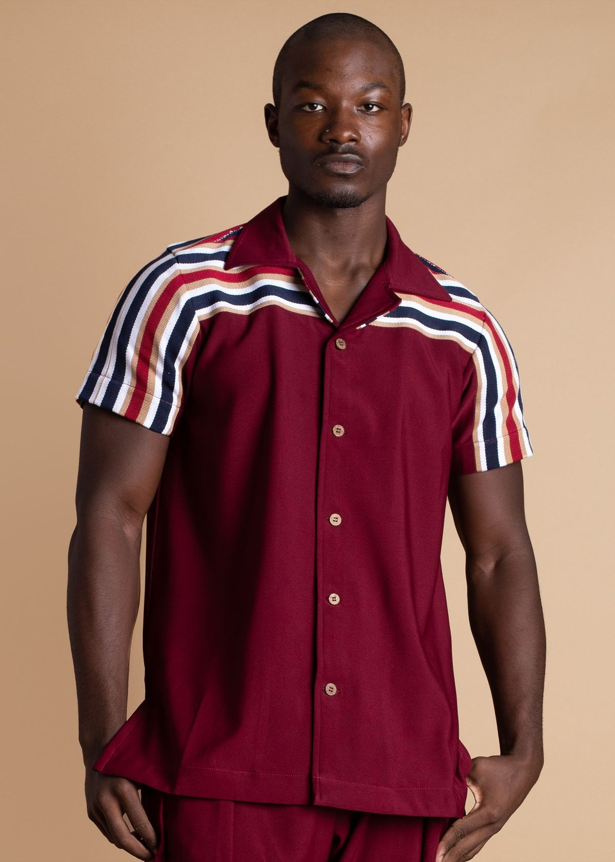Atto Tetteh Burgundy and Blue Stripe Fugu Shirt