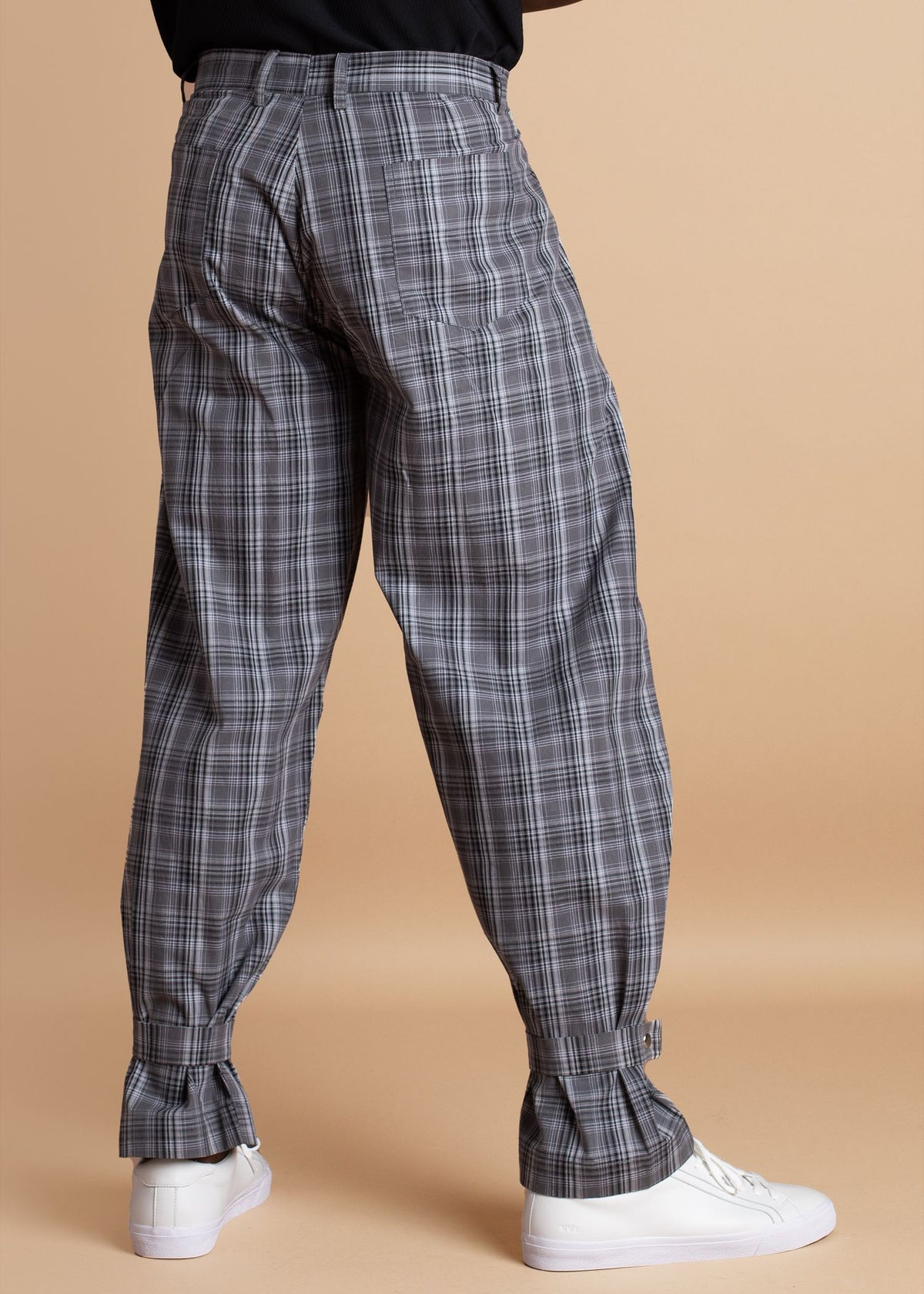 Atto Tetteh Black and White Tartan Ankle Strapped Pant