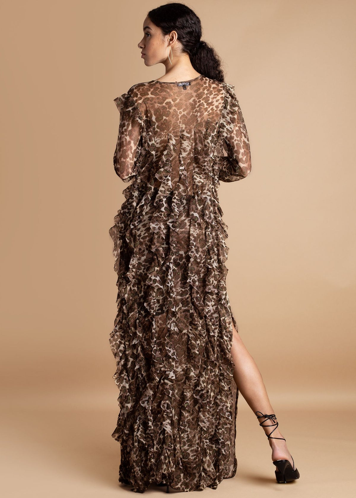Onalaja leopard ruffled Mag Dress
