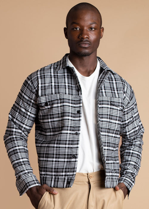 Atto Tetteh Black and White Checkered Tartan Jacket