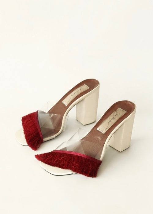 White and red fringe leather sandals