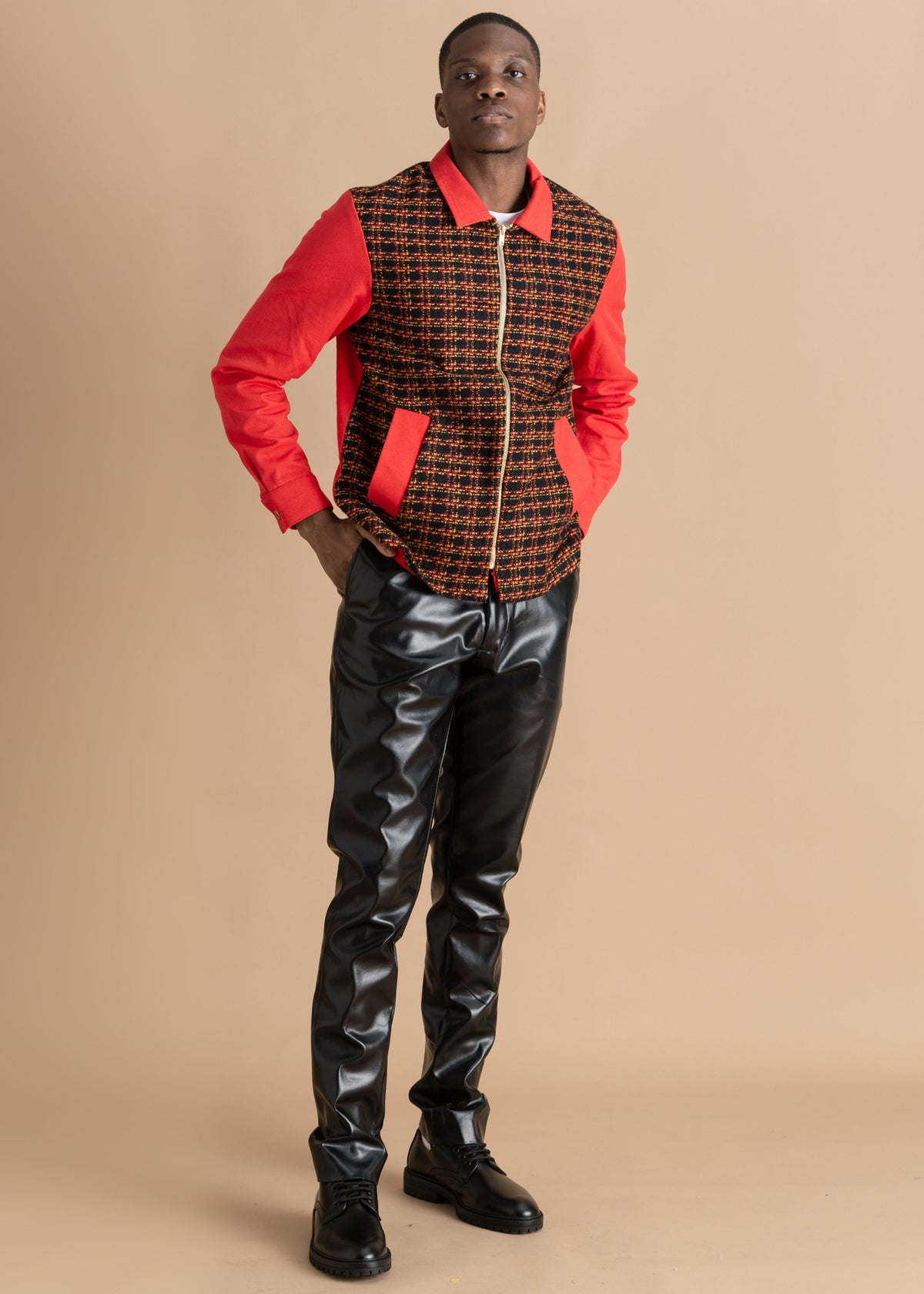 Nicholas Coutts red patterned tweed jacket