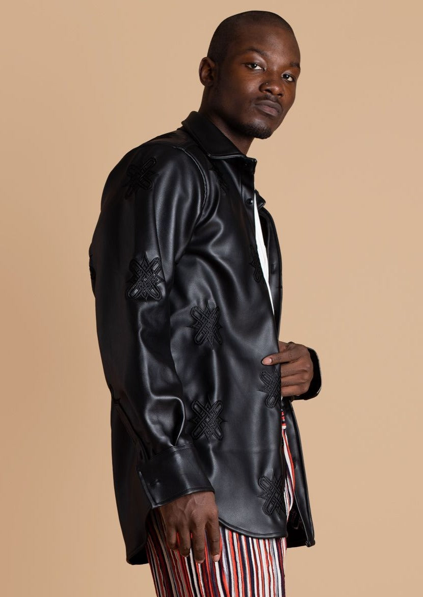 Tokyo James Black Leather Shirt