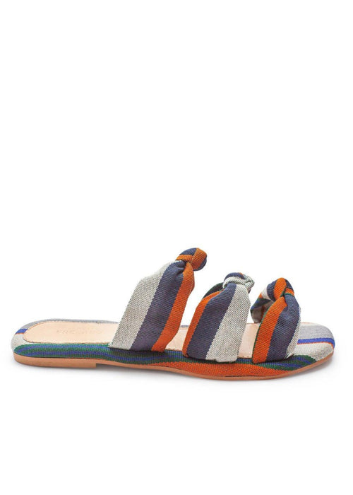Shekudo handmade orange patterned tie slipper