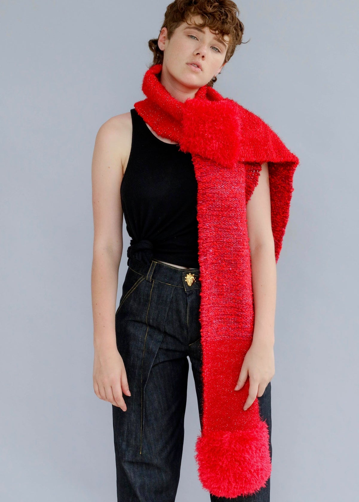 Hand-woven scarf with a multi-textured wool and lurex yarn design from Nicholas Coutts