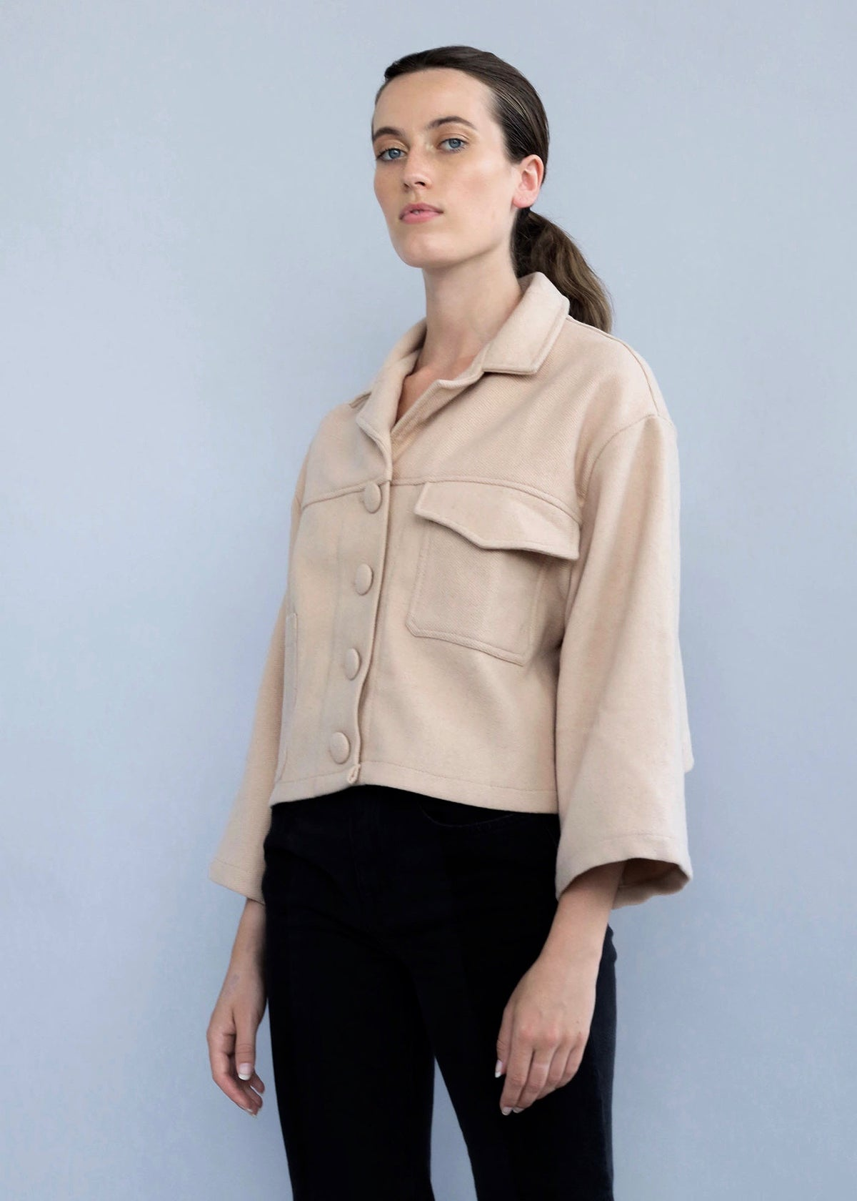 Beige handmade Wool Cropped Utility Jacket featuring two real front pockets from Selfi.