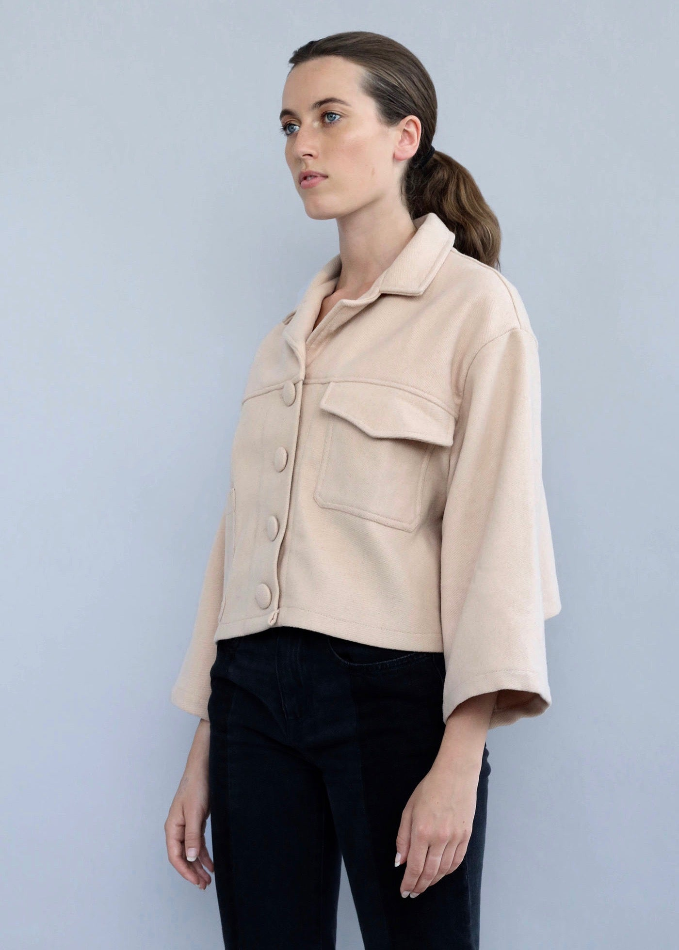 853df21bb5af Beige handmade Wool Cropped Utility Jacket featuring two real front pockets  from Selfi.