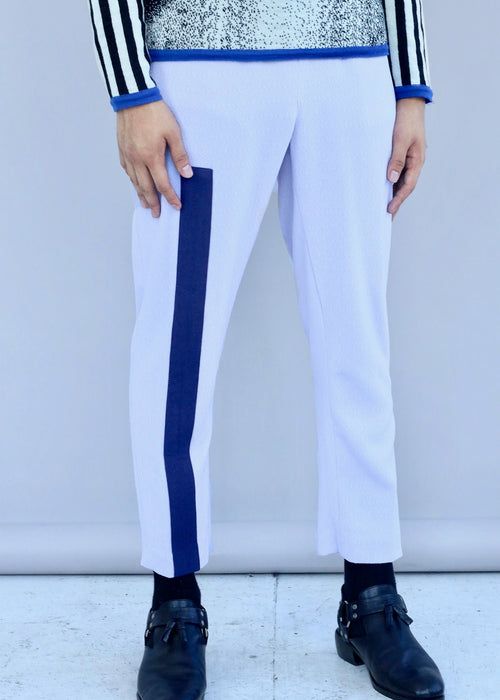 Pastel blue and navy Single Stripe Pant with elastic waistband from Tokyo James' Fall 2018 collection.