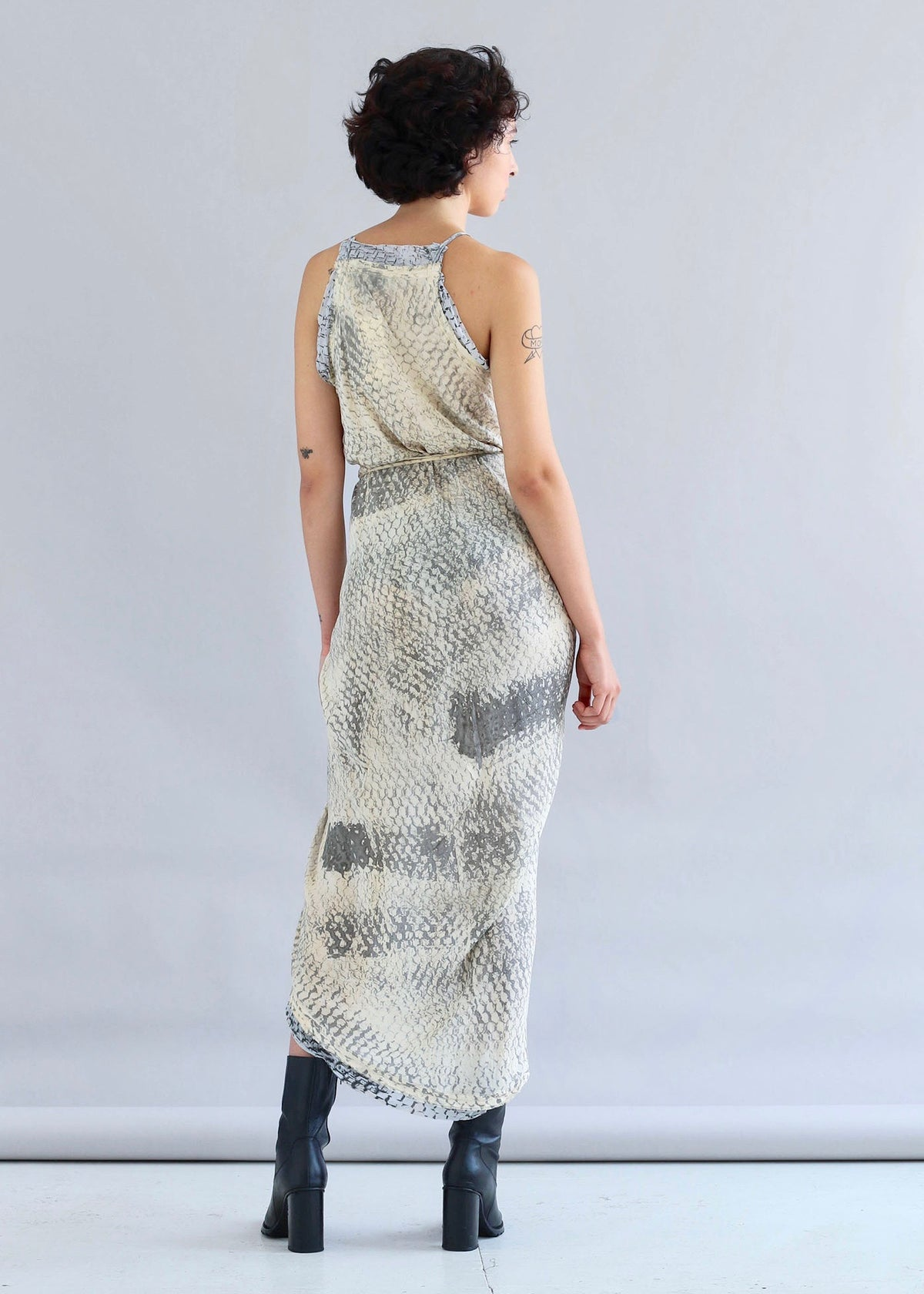 Handmade low cut wrap dress featuring a multicolor hand-dyed print by W35T