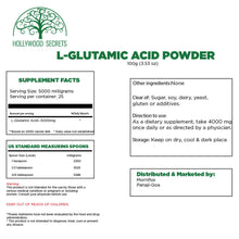 Load image into Gallery viewer, Pure L-Glutamic Amino Acid Powder 100Gms