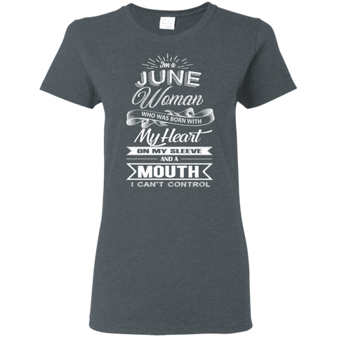 Image of T-Shirts Dark Heather / S June Woman - Ladies' 5.3 oz. T-Shirt