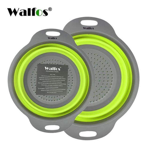 2 Pieces Kitchen Collapsable Colander Basket Green 2 Pieces Kitchen Collapsable Colander Basket