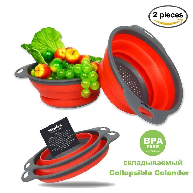 2 Pieces Kitchen Collapsable Colander Basket Red 2 Pieces Kitchen Collapsable Colander Basket