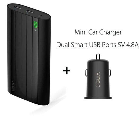 2 Ports Car Charger Vinsic 18650 Power Bank 20000mah LCD External Battery