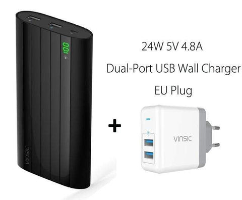 2 Ports Charger Vinsic 18650 Power Bank 20000mah LCD External Battery