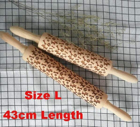 Image of 43cm Dog Christmas Embossing Rolling Pin