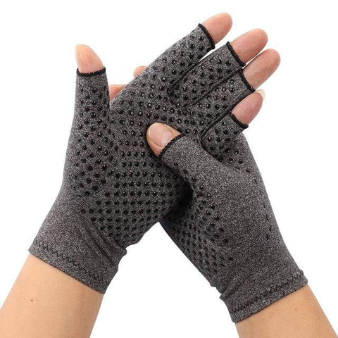 Image of Arthritis Gloves Grey With Grip / L Arthritis Compression Gloves